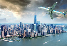 Aircraft over New York City - Tourism and vacation concept Royalty Free Stock Photo