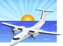 Aircraft over the sea vector illustration