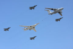 Aircraft on parade refuelling Royalty Free Stock Image