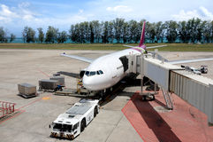 Aircraft parked in the airport. Waiting for passengers Royalty Free Stock Photos