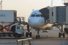 Aircraft parked at the airport ready for boarding Stock Images