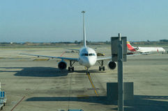 Aircraft on parking. In barcelona airport Stock Photography