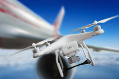 Aircraft passed just near drone and avoided collisions. Dangerous incident - aircraft passed just near drone and avoided collisions stock photos