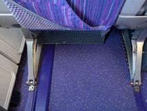 Aircraft passenger seat in airplane cabin. stock image