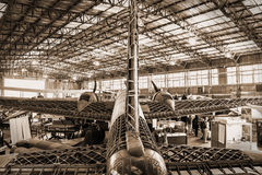Aircraft. A picture of an aircraft hanger at the Brooklands museum in Weybridge, Surrey, England royalty free stock images