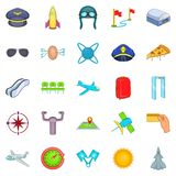 Aircraft pilots icons set, cartoon style. Aircraft pilots icons set. Cartoon set of 25 aircraft pilots icons for web isolated on white background Royalty Free Stock Photography