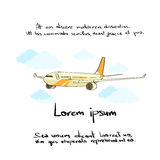 Aircraft Plane Hand Draw Color Icon. Vector Illustration Stock Image