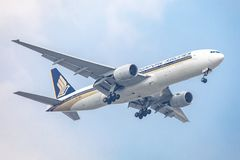Aircraft or Plane of Singapore Airlines on the sky landing to Suvanabhumi airport. Bangkok, Thailand. - April 23, 2017 : Aircraft or Plane of Singapore Airlines royalty free stock photo