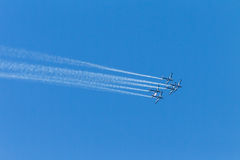 Aircraft Planes Flying Formation Sky Stock Photo