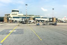 Aircraft in preparation for the flight in Milan Malpensa International Airport, Terminal 1. Ferno, Milan, Italy - May 5, 2018: Aircraft in preparation for the Stock Photography