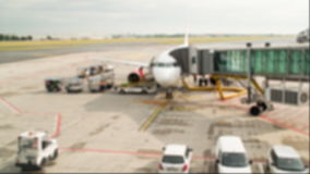 Aircraft preparation for flight. Time lapse blurred shot. Aircraft preparation for flight. Loading luggage stock video