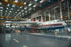 The aircraft in the process of construction. Seaplane Be-200ChC, construction, Taganrog, Russia, May 18, 2013. Aviation plant, These aircraft are already flying Stock Photo