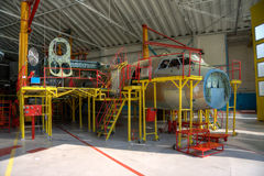 Aircraft production. Aircraft being assembled at the workshop Royalty Free Stock Photo