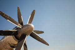 An aircraft propeller against blue clear sky background Royalty Free Stock Image