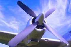 Aircraft propeller, blue sky background stock photos