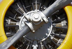 Aircraft propeller engine detail with blade Royalty Free Stock Photos