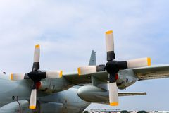 Aircraft propeller and engine parking on site.  royalty free stock photos