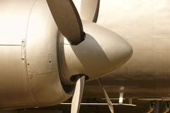 Aircraft propeller engines airframe and blades in warm tone Royalty Free Stock Photography