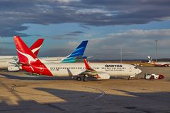 Aircraft of Qantas. MELBOURNE - MARCH 15, 2016: Aircraft of the Qantas fleet taxiing to takeoff at Melbourne Airport. Qantas is Australia`s largest airline Stock Images