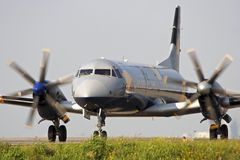 Aircraft ready to take off. Aircraft standing on the runway ready to take off Stock Images