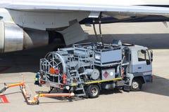 Aircraft refueller. Hydrant truck aircraft refueler at work Stock Photo