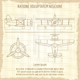 Aircraft retro blueprint drawing Royalty Free Stock Images