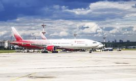 Aircraft of Rossiya Airlines on the airfield of Vnukovo Airport, Moscow, Stock Photography