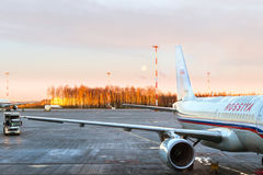 Aircraft, Rossiya airlines, Pulkovo Airport, Saint-Petersburg Royalty Free Stock Image