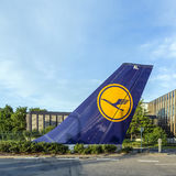 Aircraft rudder with Lufthansa logotype at Lufthansa Headquarter Royalty Free Stock Photos