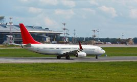 Aircraft on runway at the airport Royalty Free Stock Photo