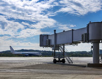 Aircraft on the runway in motion Royalty Free Stock Photo