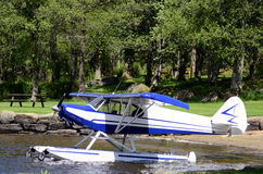 Aircraft seaplane floating Stock Image