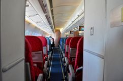 Aircraft seats inside airplane cabin Royalty Free Stock Images