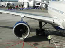 Aircraft are serviced Royalty Free Stock Photos