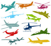 Aircraft. Set of a various type of a aircraft stock illustration