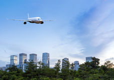 Aircraft on the Shenzhen sky Royalty Free Stock Photography