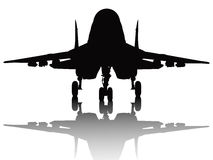 Aircraft silhouette. Jet fighter with reflection detailed vector silhouette. Separate layers Royalty Free Stock Photography