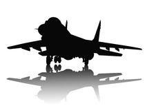 Aircraft silhouette. Jet fighter with reflection detailed vector silhouette. Separate layers Stock Photos