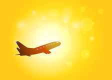 The aircraft silhouette on sunset background. Stock Image