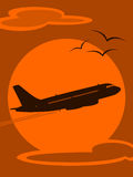 Aircraft Silhouette at Sunset Royalty Free Stock Photos