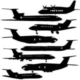 aircraft silhouettes Stock Photography