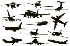 Aircraft silhouettes set Stock Image