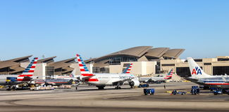 Aircraft sitting on the runway at Los Angeles International LAX Airport. Los Angeles, USA - 25  September 2016: Aircraft sitting on the runway at Los Angeles Stock Image