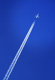 Aircraft in the sky. Small aircraft  flying in the blue sky Royalty Free Stock Photography