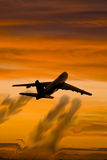 Aircraft with smoke. Boeing 747 silhouette with smoke Royalty Free Stock Photography