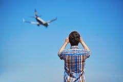 Aircraft spotting concept Stock Photos