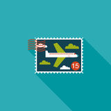 Aircraft stamp flat icon with long shadow. Cartoon vector illustration stock illustration