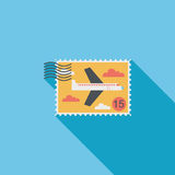 Aircraft stamp flat icon with long shadow Royalty Free Stock Photo