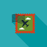 Aircraft stamp flat icon with long shadow. Vector illustration file vector illustration