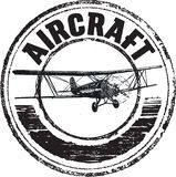 Aircraft rubber stamp, line art vector stock illustration